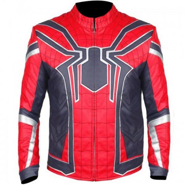 STYLISH SPIDER MAN RED LEATHER JACKET