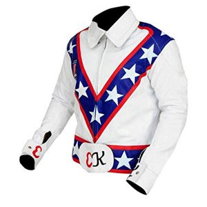 Evel Knievel White Motorcycle Leather Jacket