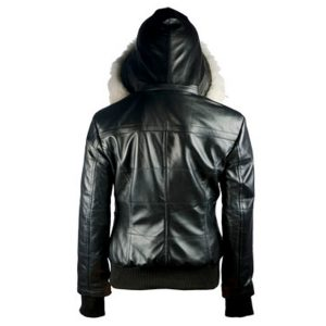 Women Bomber Leather Hoodie