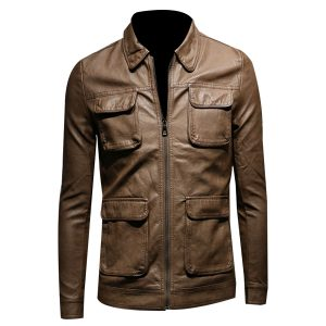 SLIM-FIT-MULTI-POCKET-BROWN-BIKER-JACKET