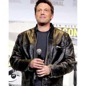 Ben Affleck Comic Con San Diego 2017 Black Leather Jacket