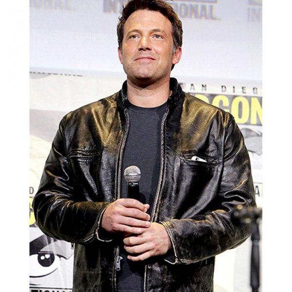 Ben Affleck Comic Con San Diego 2017 Black Leather Jacket