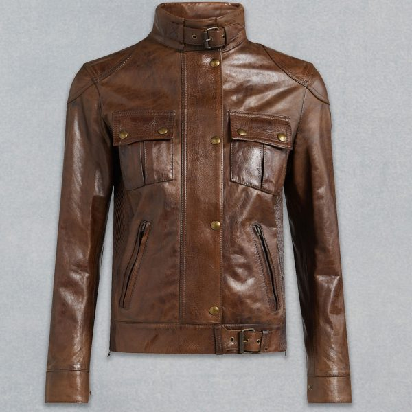 BELTED NECK ZIPPER STYLE BROWN LEATHER JACKET