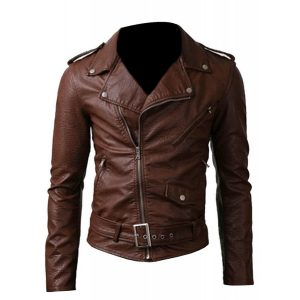 SLIM FIT BELTED RIDER BROWN BIKER JACKET