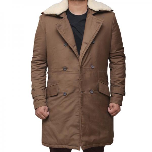 Chris Pine Wonder Woman Brown Fur Trench Coat