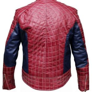 Spiderman Inspired Red Leather Jacket Costume.