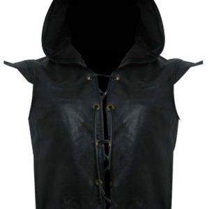 Shop-Most-Wanted-Black-Leather-Vest-Robin-Des-Bois-Ne-Renoncez-Jamais-Hoodie-Leather-Vest-Vest-UK-USA-Canada-image-2