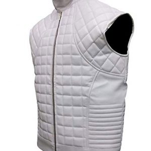 Justin Bieber WhiteBlack Quilted Leather Jacket
