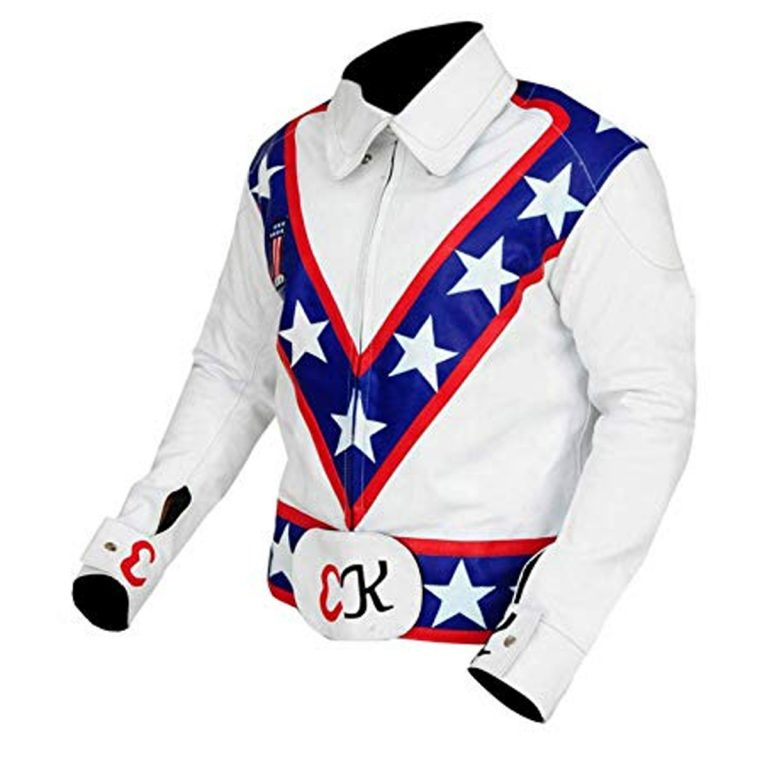 Evel Knievel White Motorcycle Leather Jacket