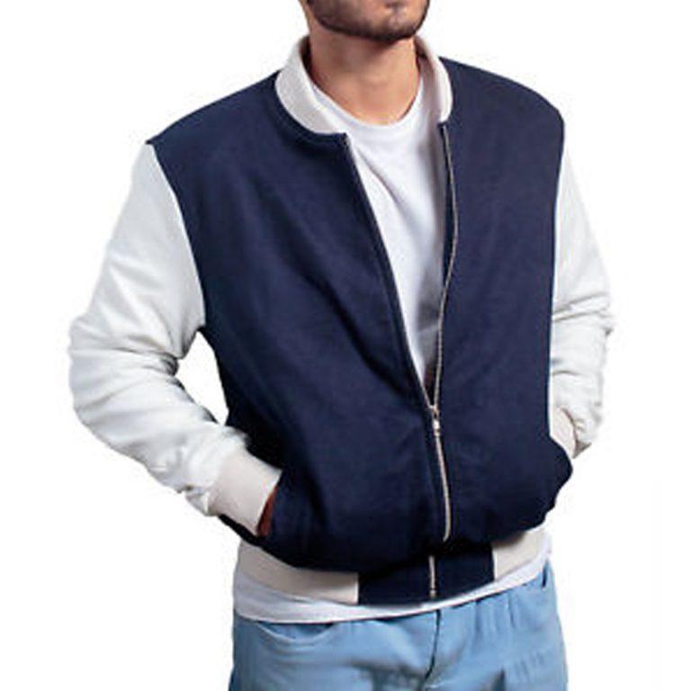 Blue And White Baby Driver Varsity Jacket
