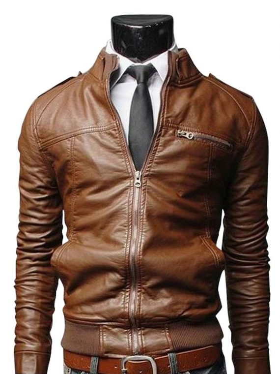 SLIM-FIT-ZIP-POCKET-LIGHT-BROWN-MOTORCYCLE-JACKET