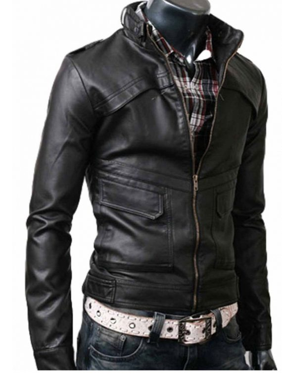 Slim-Fit-Belted-Rider-Black-Biker-Leather-Jacket