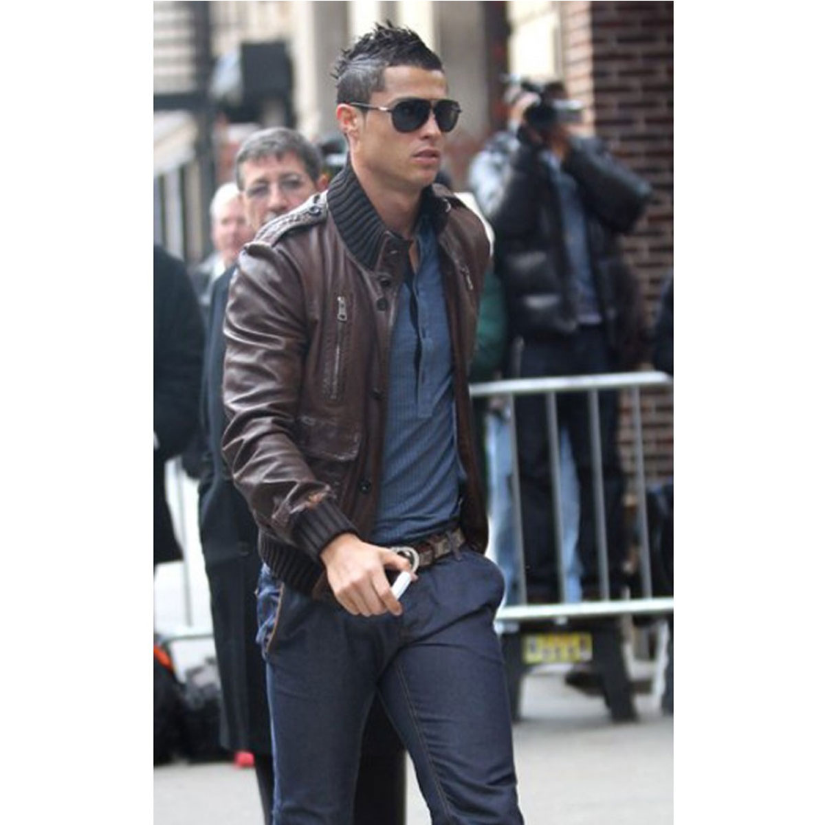2d1610a20 CRISTIANO RONALDO BROWN BOMBER LEATHER JACKET - Celebs Outfits