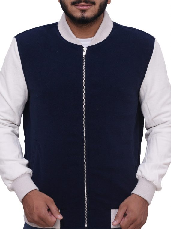 Blue And White Baby Driver Varsity Jacket