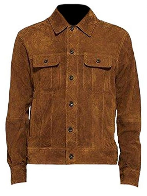 AARON TAYLOR-JOHNSON BROWN SUEDE JACKET IN NEWYORK