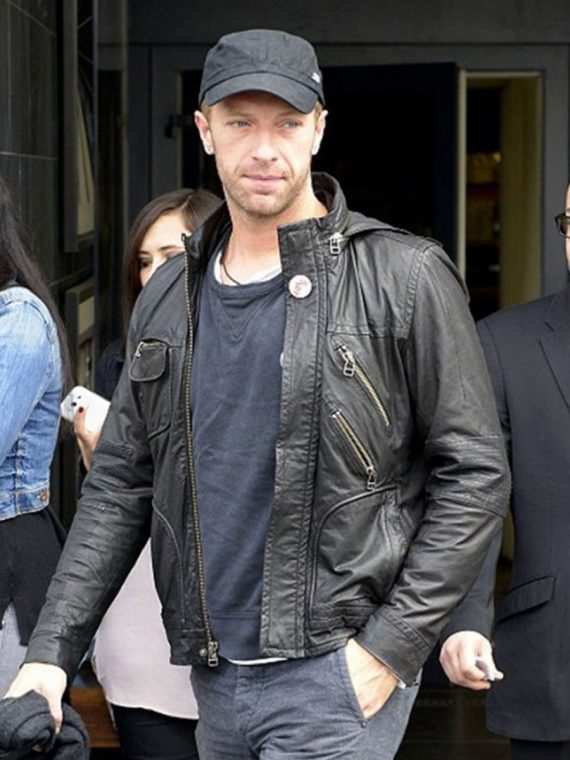 Chris Martin Coldplay Black Hooded Leather Jacket