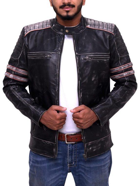 Vintage Black Biker Café Racer Jacket
