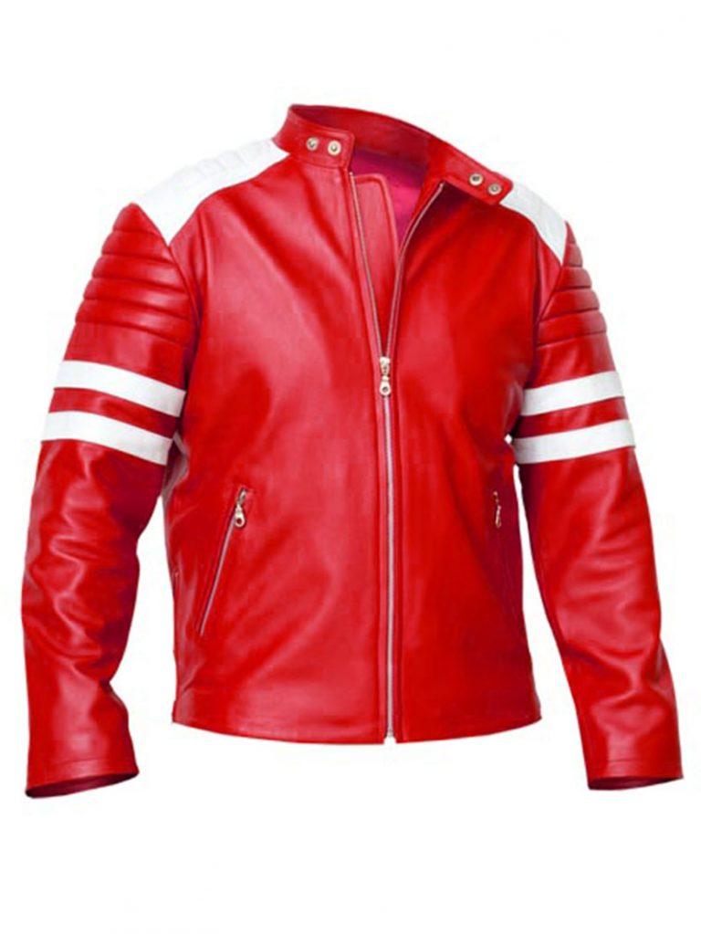 Fight Club Brad Pitt RedWhite Mayhem Jacket