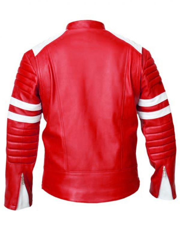 Fight Club Brad Pitt RedWhite Mayhem Jacket