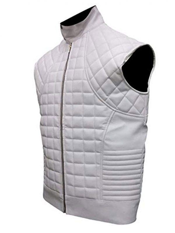 Justin Bieber WhiteBlack Quilted Leather Jacket