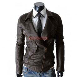 Slim Fit Multiple Pocket Black Leather Motorcycle Jacket