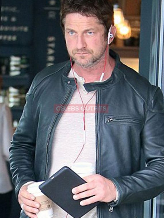 gerard butler leather motorcycle jacket