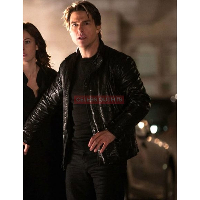 Tom Cruise Leather Jacket in Mission Impossible 5 Movie