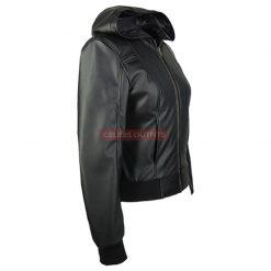 black hooded leather motorcycle jacket