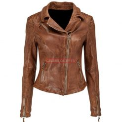 brown bomber leather motorcycle jacket