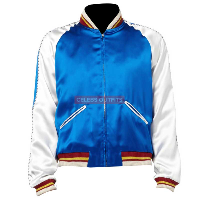 d84bd9c226c BLUE BOMBER SAINT LAURENT JACKET WITH SATIN