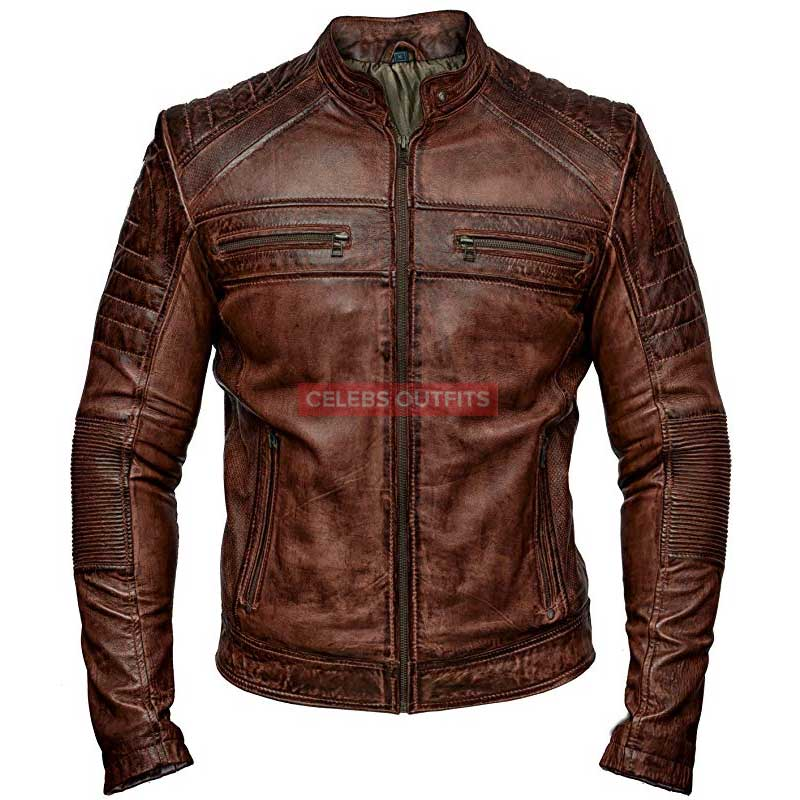 Men S Vintage Brown Bomber Leather Motorcycle Jacket