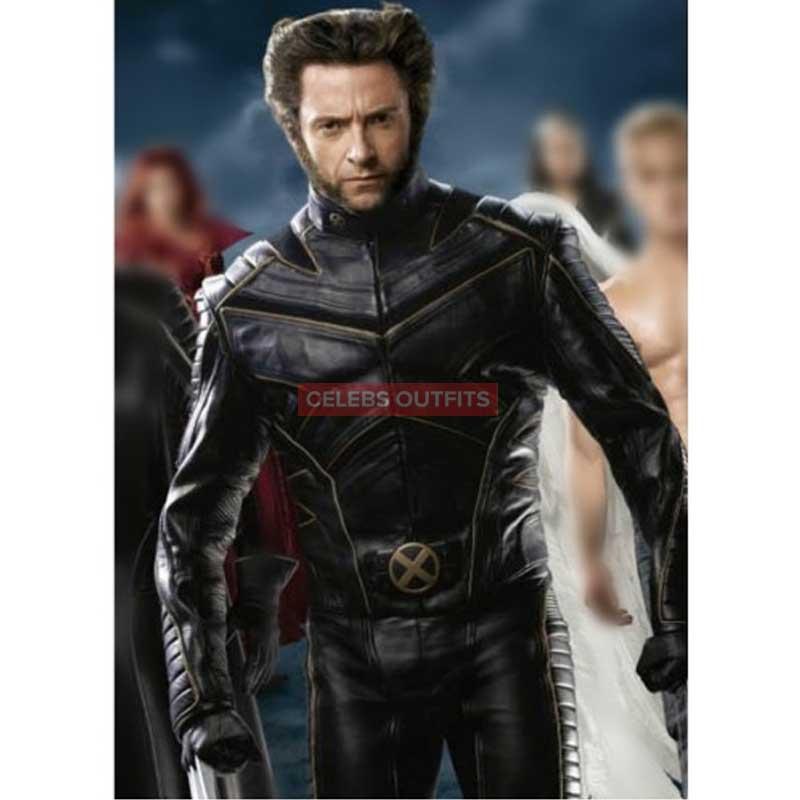 850013c00 X-Men Wolverine Leather Jacket - Black/Blue Leather Motorcycle Jacket