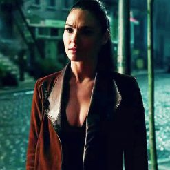 Justice League Gal Gadot Brown Leather Jacket