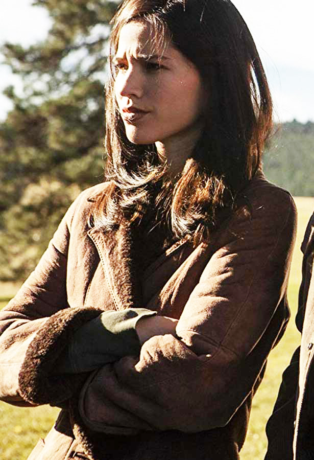 yellowstone kelsey asbille suede brown coat  celebsoutfits