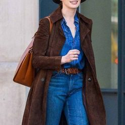 Anne Hathaway Suede Leather Coat