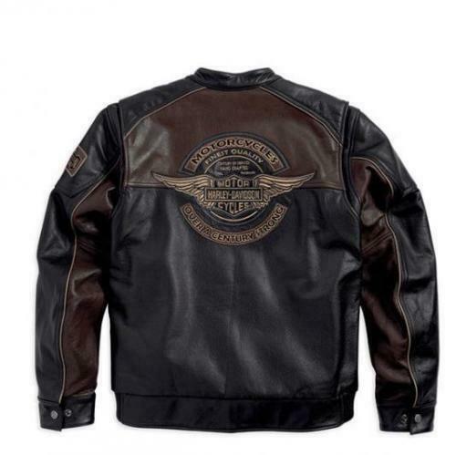 Harley Davidson Men's Reflective Bomber Leather Jacket