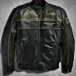 Harley Davidson Men's Reflective Bomber Leather Jacket