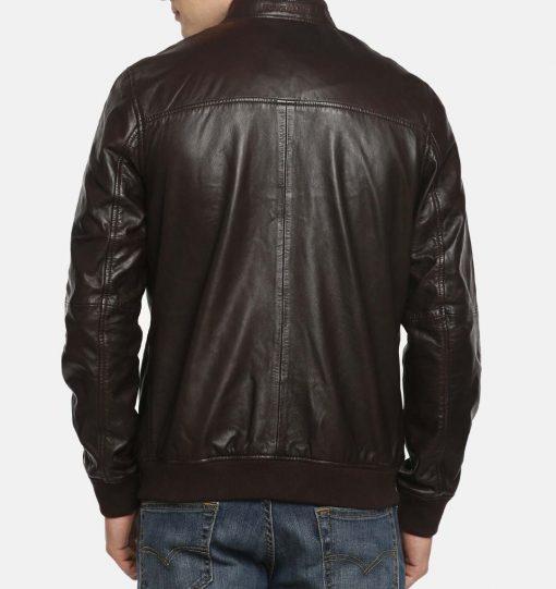 Raglan Bomber Leather Jacket For Men