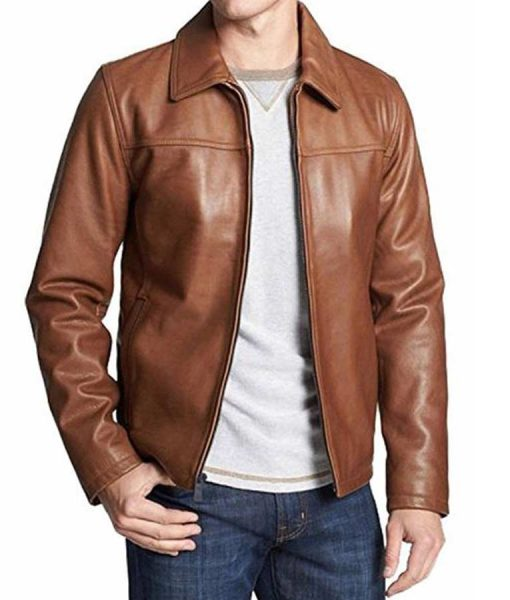 Mens Brown Classic Leather Jacket
